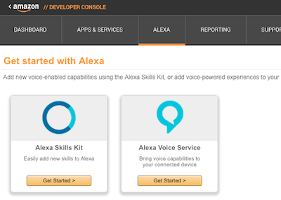 AWS Alexa home screen